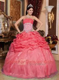 coral pink quinceanera dresses beadings gown embroidery taffeta appliques organza coral