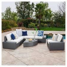 Santa Cruz Pc Wicker Sofa Set With Cushions Gray Christopher - Wicker sofa sets