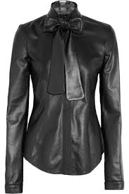 black pussybow blouse l wren leather bow shirt i leather