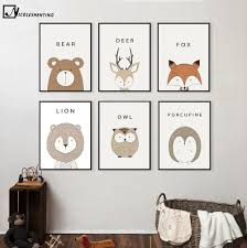 fox home decor nicoleshenting cartoon animal deer lion bear minimalist art canvas