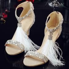 white dress shoes fringe rhinestone women u0027s high heel sandals