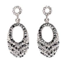 black white crystal necklace images Swarovski crystal oval crystal drop earrings with jet black jpg