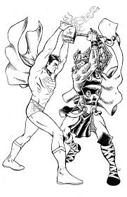 superman vs thor inks by ramonvillalobos on deviantart