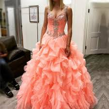 coral quince dress coral organza ruffles beaded sweetheart quinceanera dresses