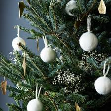 white felted wool ornaments set of 5 on food52