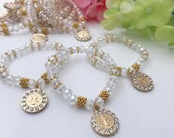 Crystal Baptism Favors 16 St Benedict Cross Medal Cut Crystal Bracelets For Baptism
