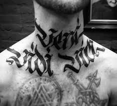 modern insane veni vidi vici mens neck and chest tattoo tattoo
