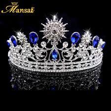 wedding crowns luxurious royal blue crown bridal rhinestone tiara headpiece