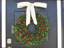 thin boxwood red berries christmas wreath holiday wreaths