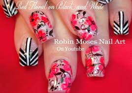 red flower nails with black and white stripes chevron nail art
