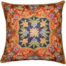 Ottoman Pillow Ottoman Design Floral Decorative Cushion Cover Blue