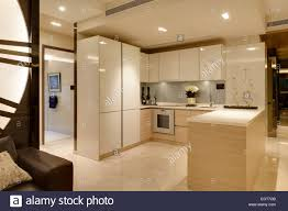 open plan kitchen in show flat at v on shenton condominium by un