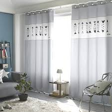 Fish Curtains Gray Fish Print Velvet And Linen Nursery Curtains