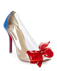 christian louboutin clear u0026 red pvc bow pumps in red lyst