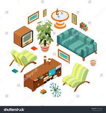 Retro Living Room Art Isometric Objects Retro Living Room Objects Stock Vector 256458808