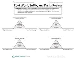root word suffix and prefix review worksheet education com