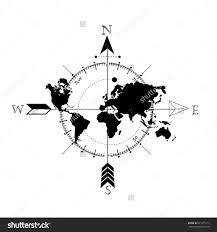 Simple Vector World Map by Stylized World Map With Compass And Arrow Tattoo Style Trash