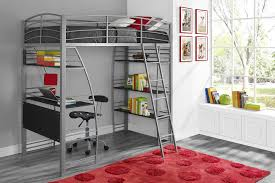 Twins Beds Dorel Studio Silver Twin Loft Bed With Integrated Desk And Shelves