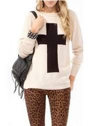 junior sweaters fashion cross printed knit sweater sweaters womens sweater