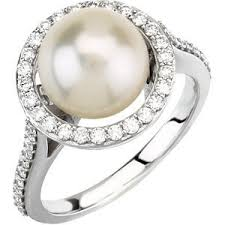 pearl and diamond engagement rings white cultured pearl diamond engagement ring