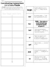 coordinating conjunctions cut u0026 paste puzzle by jh lesson design