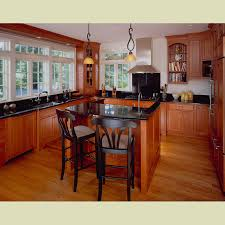 simple brown color cherry wood shaker kitchen cabinets featuring