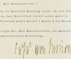 withdrawal of germany from the league of nations letter from