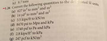 si e pcf solved convert the following quentities to the si units