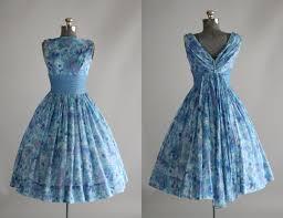 vintage 1950s dress 50s garden party carol craig blue and