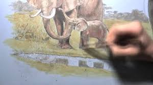 time lapse of painting an elephant family in acrylics and colored