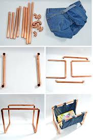 how to make a trendy copper and denim diy magazine rack