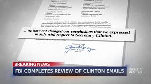 Break Letter Dear John fbi completes review of newly revealed hillary clinton emails