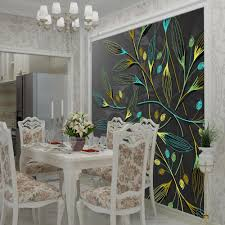 Dining Room Murals 3d Abstract Wall Murals Dark Leaves Hd Photo Wallpaper For Bedroom