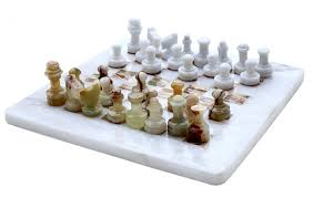 radicaln handmade marble black and fossil coral marble full chess