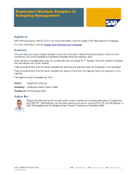 Sap Mdm Resume Samples by Qm Sampling Scheme