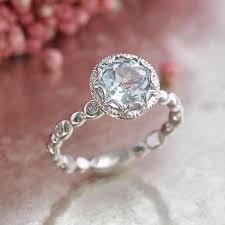 aquamarine diamond ring floral aquamarine engagement ring in 14k white gold pebble