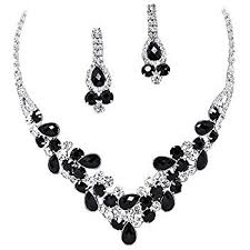 elegant black necklace images Elegant black v shaped garland prom bridesmaid evening jpg