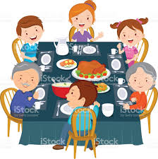 thanksgiving dinner cartoon pics family dinner stock vector art 507874114 istock