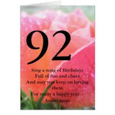 92nd birthday cards greeting u0026 photo cards zazzle