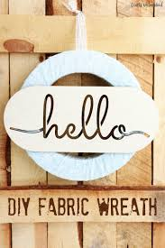 diy fabric wreath with laser cut hello sign