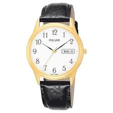 s pulsar day date gold tone with white and black