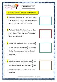 grade 3 maths worksheets 7 9 fraction word problems lets