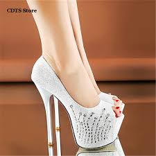 wedding shoes bottoms party 2016 peep toe 15cm thin high heels bottoms