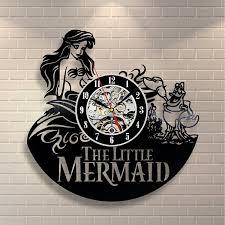 amazon com mermaid ariel disney vinyl wall clock art gift room