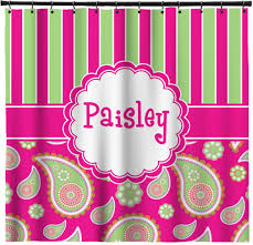 Curtains Pink And Green Ideas Pleasant Idea Pink And Green Shower Curtain Paisley Stripes