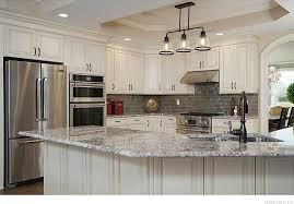 3 Light Kitchen Island Pendant by Traditional Kitchen With Raised Panel U0026 Complex Granite Counters