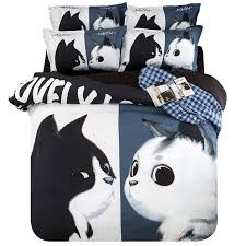 Black And White King Size Duvet Sets Aliexpress Com Buy 3d Cartoon Black And White Cat Bedding Sets