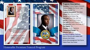 memorial service programs templates free honorable funeral program obituary