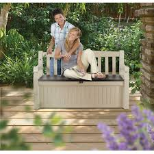Patio Bench With Storage by Patio Bench With Arm Rest And Storage Box In Beige Weather