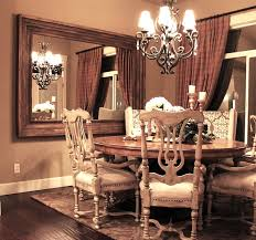 Large Living Room Mirror by Large Wood Framed Mirror Mounted On The Dining Room Wall Dining